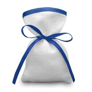 Sacchetti da ricamare a punto croce in tela aida con rifinitura in raso