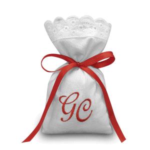 Sacchetti ricamati per bomboniere personalizzati con iniziali