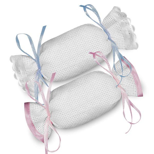 Sacchetti caramella in tela aida da ricamare a punto croce - www.crociedelizie.com