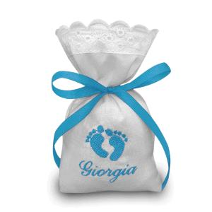 Sacchetti ricamati per bomboniere personalizzati Piedini
