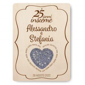 Targa ricordo nozze d'argento - www.crociedelizie.com