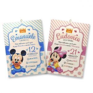 Quadretto nascita personalizzato baby Topolino - Minnie - www.crociedelizie.com