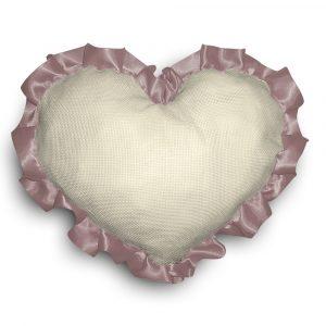 Cuscino cuore shabby chic da ricamare a punto croce - www.crociedelizie.com