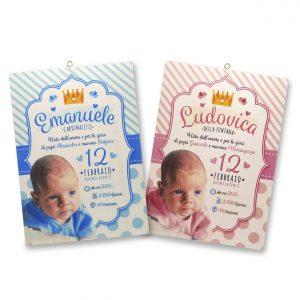 Quadretto nascita personalizzato con foto - www.crociedelizie.com