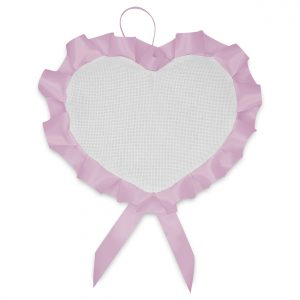 Fiocco nascita ricamabile a forma di cuore - www.crociedelizie.com
