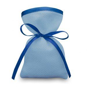 Sacchetti da ricamare a punto croce in tela aida colorata con rifinitura in raso