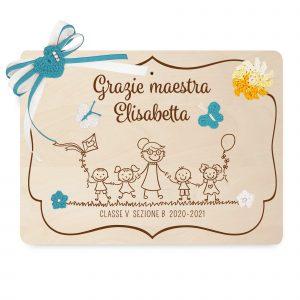 Targa ricordo per Maestra - modello bimbi - www.crociedelizie.com