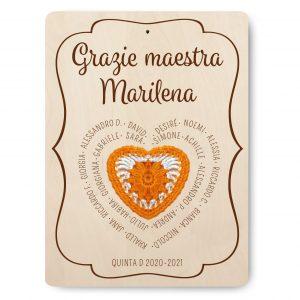Targa ricordo per Maestra - modello cuore - www.crociedelizie.com